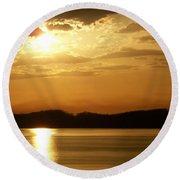 Iowa River Sunset V3 Round Beach Towel