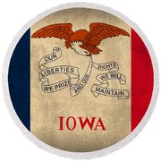 Iowa State Flag Art On Worn Canvas Round Beach Towel