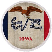 Iowa State Flag Round Beach Towel by Pixel Chimp