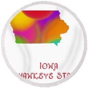 Iowa State Map Collection 2 Round Beach Towel