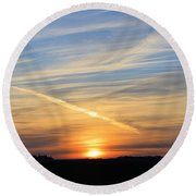 Iowa Sunrise Round Beach Towel