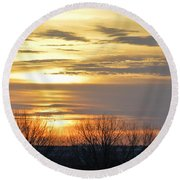 Iowa Sunrise Panorama Round Beach Towel