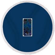 Iphone Case  Midnight Blue Frost Crystals Fractal Round Beach Towel