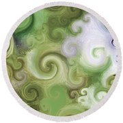 Iphone Green Swirl Abstract Round Beach Towel