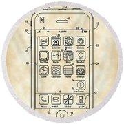 iPhone Patent - Vintage Round Beach Towel