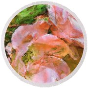 Iphone Pink Rose Digital Paint Round Beach Towel