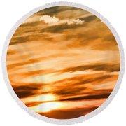Iphone Sunset Digital Paint Round Beach Towel