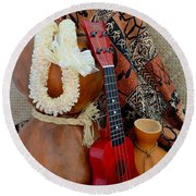 Ipu Heke And Red Ukulele With White Satin Lei Round Beach Towel