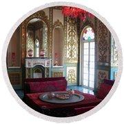 Iran Golestan Palace Interior  Round Beach Towel