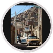 Iran Kandovan Cars And Wires Round Beach Towel