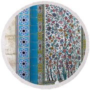 Iran Shiraz Tile And Fountain Round Beach Towel