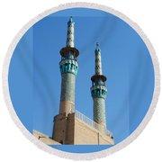 Iran Yazd Mosque Spires  Round Beach Towel