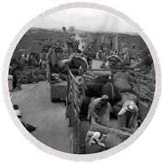 Iraq Al Manshiyya Evacuation 1948 Round Beach Towel