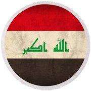 Iraq Flag Vintage Distressed Finish Round Beach Towel