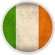 Ireland Flag Vintage Distressed Finish Round Beach Towel