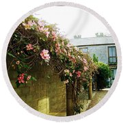 Ireland Floral Vine-topped Brick Wall Round Beach Towel