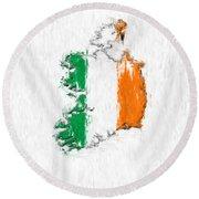 Ireland Painted Flag Map Round Beach Towel