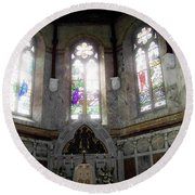 Ireland St. Brendan's Cathedral Stained Glass Round Beach Towel
