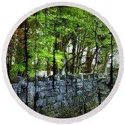 Ireland Stone Wall And Trees Round Beach Towel