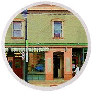 Irenes's Pub And Ernesto's Barber Shop Bank St Shops In The Glebe Paintings Of Ottawa Cspandau  Round Beach Towel