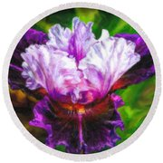 Iridescent Iris Round Beach Towel
