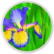 Iris Blossom Round Beach Towel