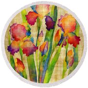 Iris Elegance On Yellow Round Beach Towel