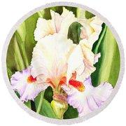 Iris Flower Dancing Petals Round Beach Towel