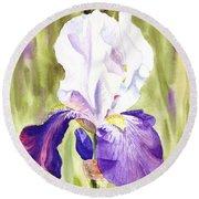 Iris Flower Purple Dance Round Beach Towel