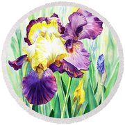 Iris Flowers Garden Round Beach Towel