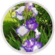 Iris Flowers Round Beach Towel