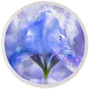 Iris - Goddess In The Moonlite Round Beach Towel