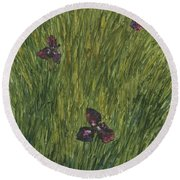 Iris In A Field Round Beach Towel