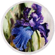 Iris In Bloom 2 Round Beach Towel