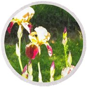 Iris In Watercolor Round Beach Towel