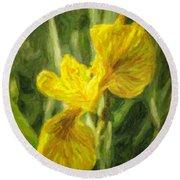 Iris Pseudacorus Yellow Flag Iris Round Beach Towel