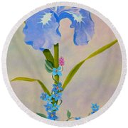 Iris With Forget Me Nots Round Beach Towel