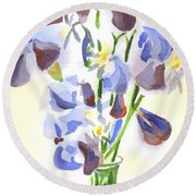 Irises Aglow Round Beach Towel by Kip DeVore