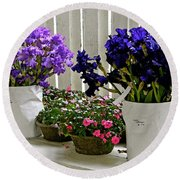 Irises And Impatiens Round Beach Towel