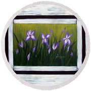 Irises And Old Boards - Weathered Wood Round Beach Towel