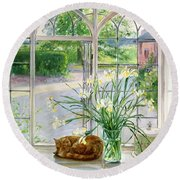 Irises And Sleeping Cat Round Beach Towel by Timothy Easton