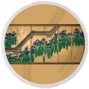 Irises At Yatsuhashi. Eight Bridges Round Beach Towel