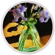 Irises In Morning Light Round Beach Towel