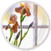 Irises In The Window Round Beach Towel