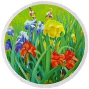 Irises On The West Lawn 1 Round Beach Towel