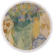 Irises With Chinese Pot Round Beach Towel