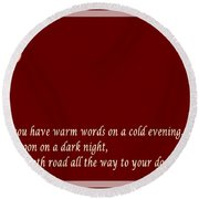 Irish Blessing - Full Moon - Greeting  - Red Round Beach Towel