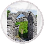 Irish Church Ruins Round Beach Towel