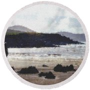 Irish Coast Pastel Chalk Round Beach Towel
