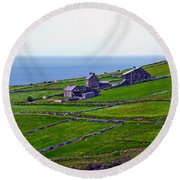 Irish Farm 1 Round Beach Towel